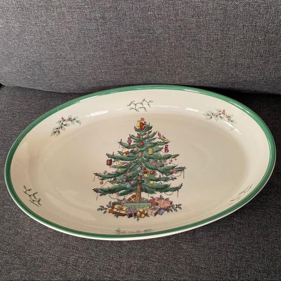 SPODE Large Oval Christmas Tree Dish